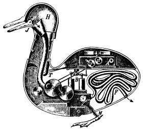 Légende : Schéma hypothétique de l'appareil digestif du canard de Vaucanson, vers 1740.